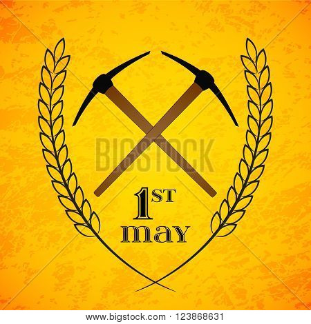 May Day. May 1st. Labor Day background with two crossed pickaxes . Poster, greeting card or brochure template, symbol of work and labor, vector icon