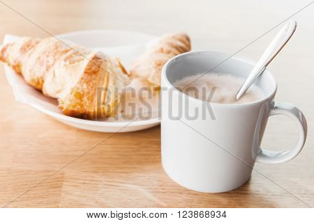 Breakfast Menu. Cappuccino With Croissant