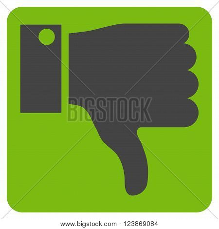 Thumb Down vector icon. Image style is bicolor flat thumb down icon symbol drawn on a rounded square with eco green and gray colors.