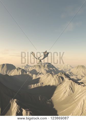 Fantasy illustration of a giant green dragon perched on top of a mountain range, 3d digitally rendered illustration