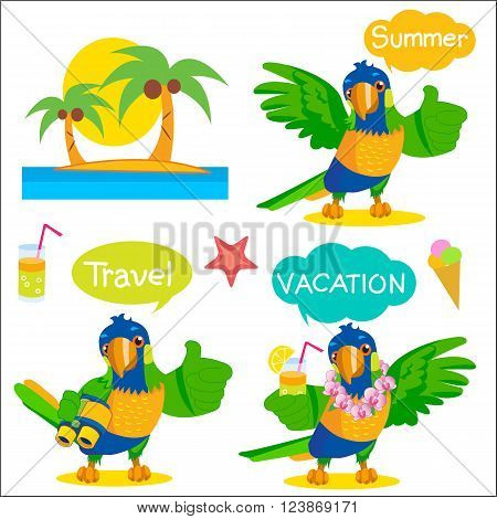 Set Of Funny Parrot Tourist Mascot. Vacation And Tourism Icons And Talk Balloons. Vector Illustration. Rainbow Parrot For Sale. Rainbow Parrot Location. Rainbow Parrot Mascot. Macaw Parrot Travel.