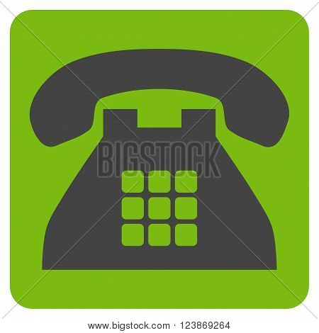 Tone Phone vector pictogram. Image style is bicolor flat tone phone pictogram symbol drawn on a rounded square with eco green and gray colors.