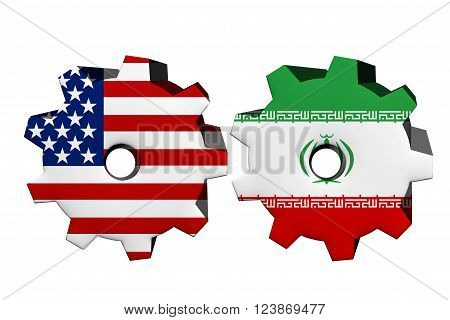 The United States of America and Iran working together Two cogwheels with a flag of the United States and Iran isolated on white