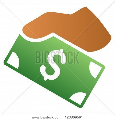 Manual Banknote Payment vector toolbar icon for software design. Style is a gradient icon symbol on a white background.