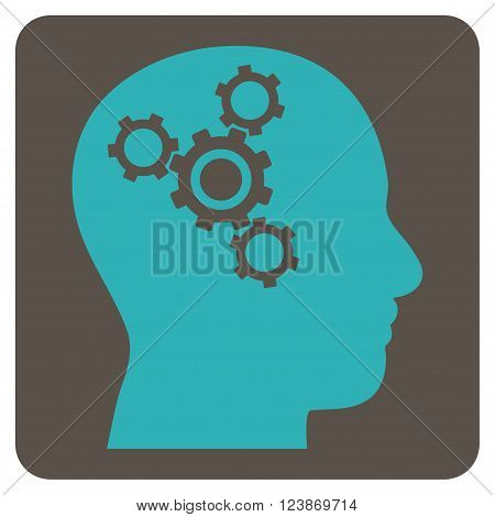 Brain Mechanics vector symbol. Image style is bicolor flat brain mechanics pictogram symbol drawn on a rounded square with grey and cyan colors.