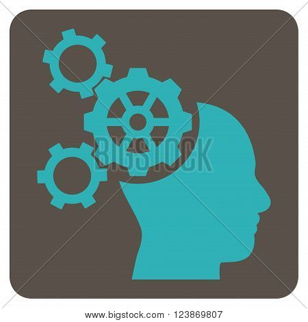 Brain Mechanics vector icon symbol. Image style is bicolor flat brain mechanics icon symbol drawn on a rounded square with grey and cyan colors.