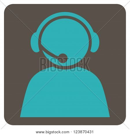 Call Center Operator vector symbol. Image style is bicolor flat call center operator icon symbol drawn on a rounded square with grey and cyan colors.