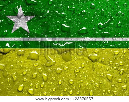 flag of Boa Vista with rain drops