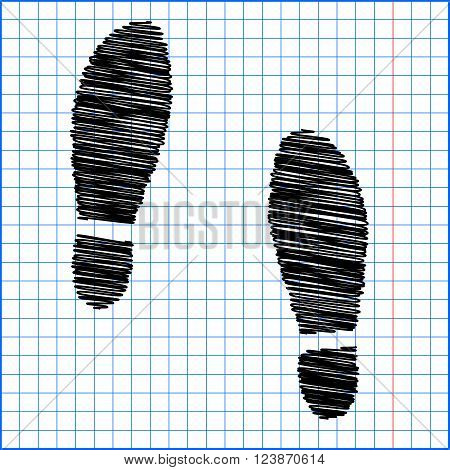 Imprint soles shoes icon with pen effect on paper.