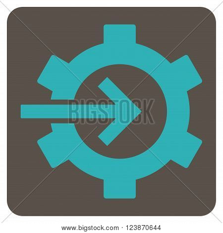 Cog Integration vector icon. Image style is bicolor flat cog integration icon symbol drawn on a rounded square with grey and cyan colors.
