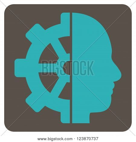 Cyborg Gear vector icon symbol. Image style is bicolor flat cyborg gear pictogram symbol drawn on a rounded square with grey and cyan colors.