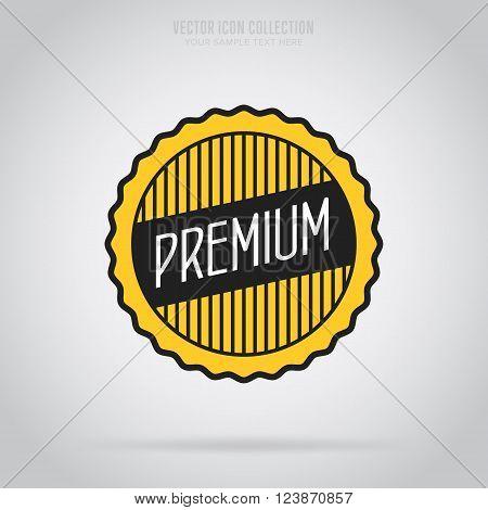 Premium quality stamp flat vector illustration. Design of ad offer stamp. Premium quality stamp. Premium quality sticker. Promo offer. Premium quality badge. Special offer stamp. Premium quality label. Vector icon of premium quality. Quality stamp.