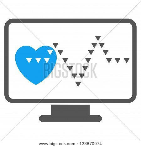 Cardio Monitoring vector icon. Style is bicolor flat icon symbol blue and gray colors white background triangle dots.