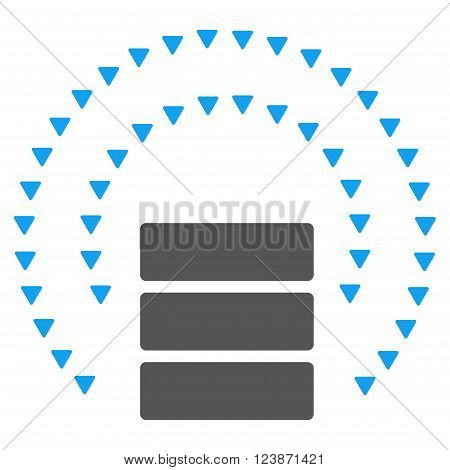 Database Sphere Shield vector icon. Style is bicolor flat icon symbol, blue and gray colors, white background, triangle dots.