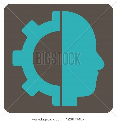 Cyborg Gear vector symbol. Image style is bicolor flat cyborg gear pictogram symbol drawn on a rounded square with grey and cyan colors.