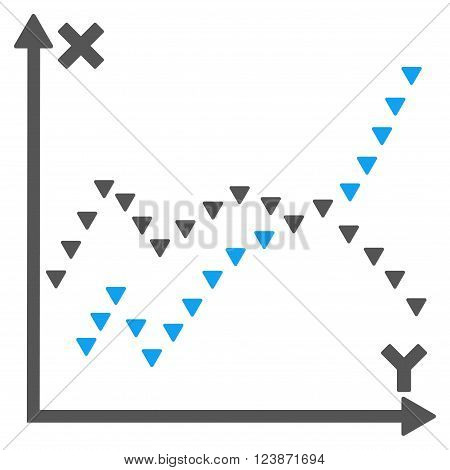 Dotted Functions Plot vector icon. Style is bicolor flat icon symbol blue and gray colors white background triangle dots.