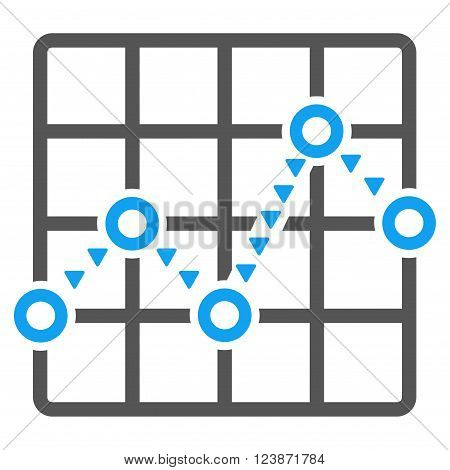 Dotted Line Grid Plot vector icon. Style is bicolor flat icon symbol blue and gray colors white background triangle dots.