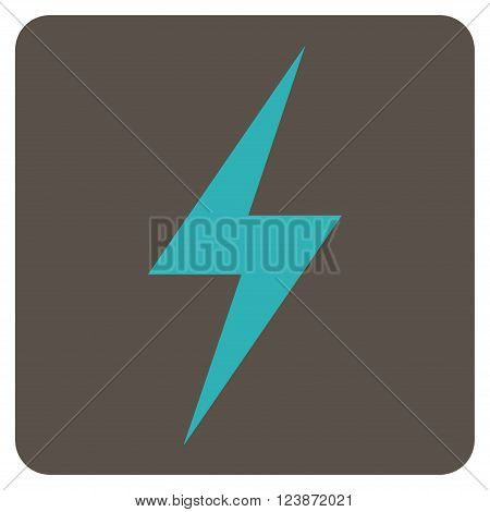 Electricity vector pictogram. Image style is bicolor flat electricity pictogram symbol drawn on a rounded square with grey and cyan colors.