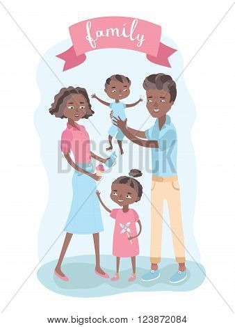 Cute vector illustration of  black-skin happy family members and lettering. Man holding baby on his hands and woman give ice cream to girl