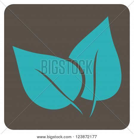 Flora Plant vector icon. Image style is bicolor flat flora plant iconic symbol drawn on a rounded square with grey and cyan colors.