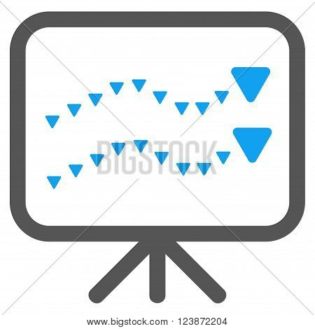 Dotted Trends Board vector icon. Style is bicolor flat icon symbol, blue and gray colors, white background, triangle dots.