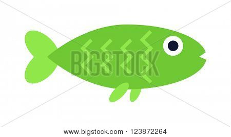 Underwater aquarium green fish and marine aquarium green fish. Tropical wildlife aquarium fish, colorful ocean green exotic fish. Green aquatic fish wildlife aquarium underwater nature animal vector.