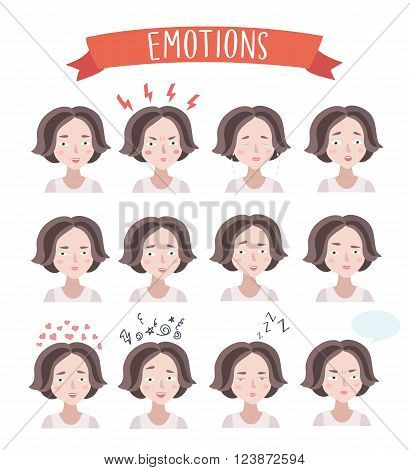 Vector set illustration of cute woman emotions portraits