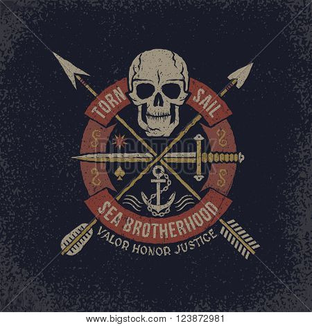 Pirate Skull logo in grunge style. Skull with a circular banner with a dagger and crossed arrows. Textures on separate layers - easily editable.