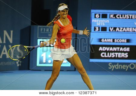 Victoria Azarenka Hits a forehand During her match at the Medibank International In 2011