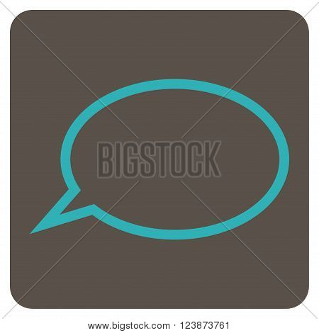 Hint Cloud vector symbol. Image style is bicolor flat hint cloud pictogram symbol drawn on a rounded square with grey and cyan colors.