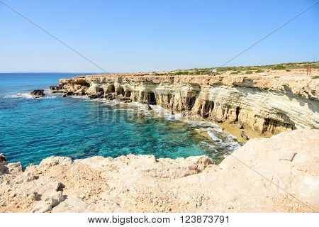 Beautiful cliffs and arches in Aiya Napa Republic of Cyprus