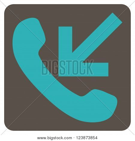 Incoming Call vector pictogram. Image style is bicolor flat incoming call pictogram symbol drawn on a rounded square with grey and cyan colors.