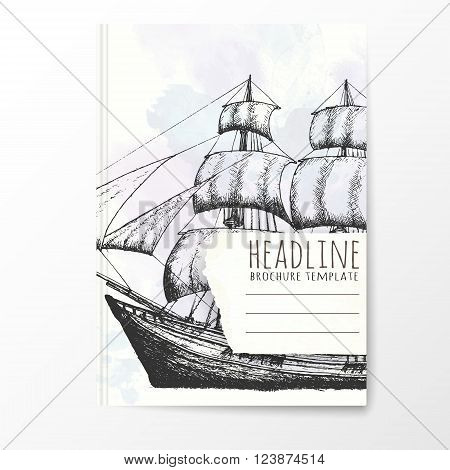 Notebook template with hand drawn ship. Vector editable notebook cover.