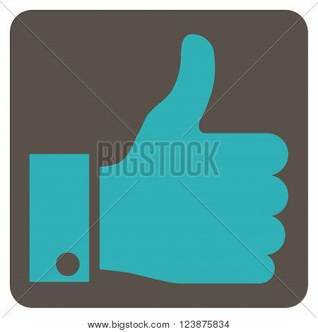Thumb Up vector icon. Image style is bicolor flat thumb up iconic symbol drawn on a rounded square with grey and cyan colors.
