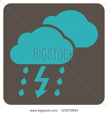 Thunderstorm vector icon. Image style is bicolor flat thunderstorm pictogram symbol drawn on a rounded square with grey and cyan colors.