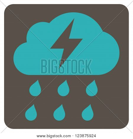 Thunderstorm vector icon symbol. Image style is bicolor flat thunderstorm icon symbol drawn on a rounded square with grey and cyan colors.