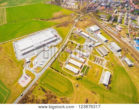 Aerial view to industrial zone and technology park on Dobrany suburb of Pilsen city in Czech Republic, Europe.