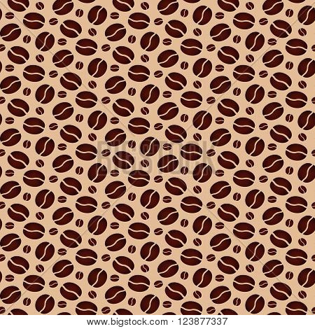 Brown seamless background with scattering of coffee beans. Seamless coffee pattern. Design for cards wall paper, posters, clothes. Vector illustration