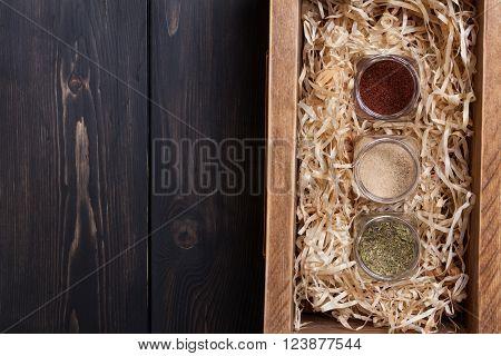 Spice Jars In A Crate