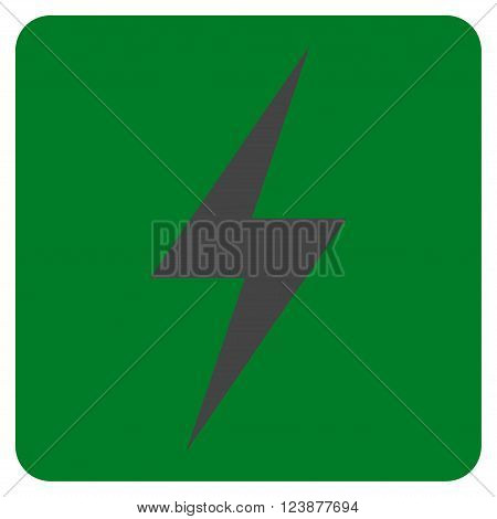 Electricity vector icon symbol. Image style is bicolor flat electricity icon symbol drawn on a rounded square with green and gray colors.