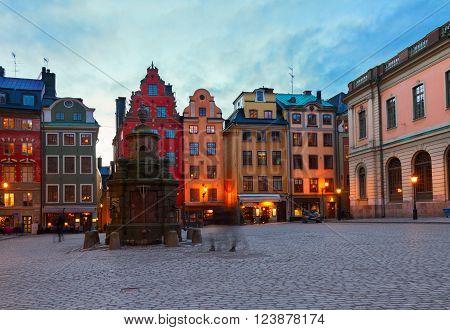 Gamla Stan ols square at night, Stockholm, Sweden