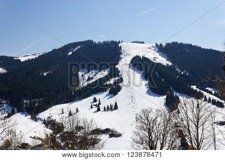 Ski Area Dienten Am Hochkonig, Austria Alps In Winter