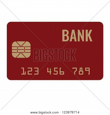 Credit card icon, plastic bank bank card icon, solid and flat color design in vector
