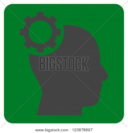 Intellect Gear vector symbol. Image style is bicolor flat intellect gear iconic symbol drawn on a rounded square with green and gray colors.