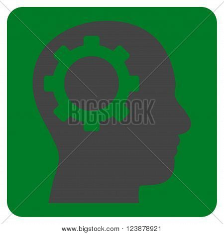 Intellect Gear vector pictogram. Image style is bicolor flat intellect gear iconic symbol drawn on a rounded square with green and gray colors.