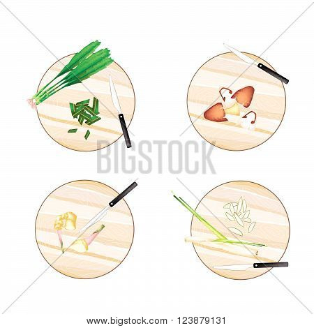 Vegetable and Herb, Illustration of Galangal, Lemon Grass, Straw Mushrooms and Culantro on Wooden Cutting Boards.