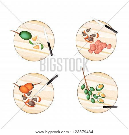 Vegetable and Herb Illustration Whole and Half Betel Palm Nut or Areca Nut on Wooden Cutting Boards.