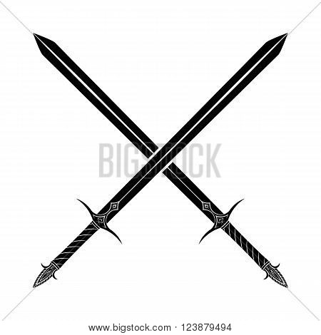 Crossed Swords Silhouette On White Background