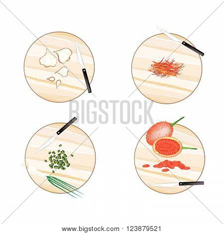 Vegetable and Herb Illustration of Garlic Bulbs Saffron Thread Scallion and Gac Fruit on Wooden Cutting Boards.