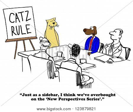 Business cartoon about a manager cat presenting at the 'New Perspective Series'.